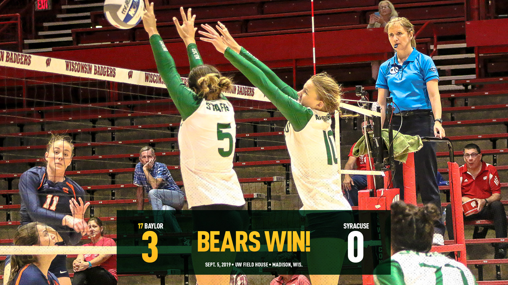 No  17 VB Stays Perfect with Sweep of Syracuse - Baylor